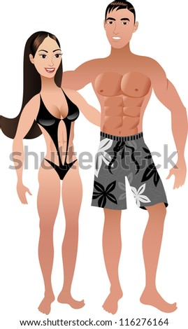 Raster version Illustration. Fit Athletic Couple 2. - stock photo