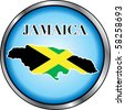 Raster version Illustration for Jamaica, Round Button. Used Didot font. - stock photo