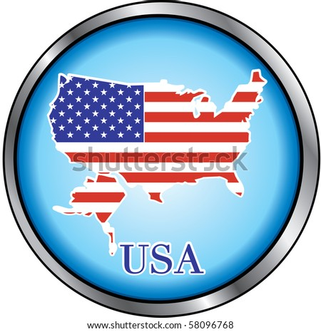 Raster version Illustration for USA, Round Button. Also available as a vector. - stock photo