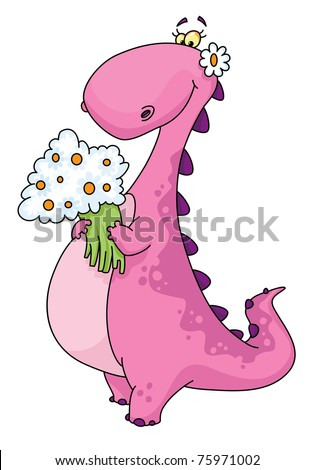 raster version illustration of a dinosaur lady - stock photo