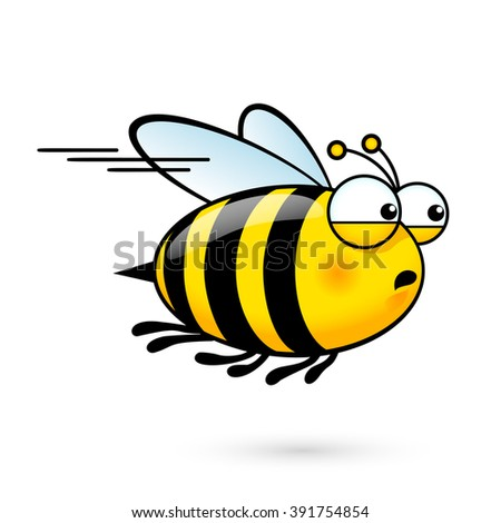 Raster version. Illustration of a Friendly Cute Bee a Hurry to Visit