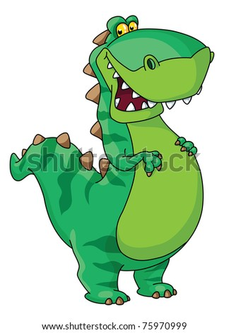 raster version illustration of a happy dinosaur - stock photo