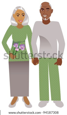 Raster version Illustration of a happy old couple in love. - stock photo