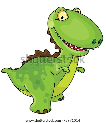 raster version illustration of a laughing dinosaur - stock photo