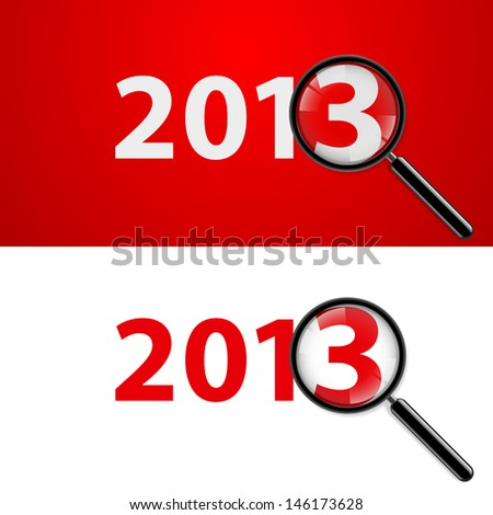 Raster version. Illustration of a magnifying glass and New Year over white background - stock photo