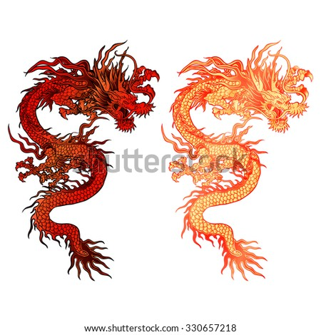 raster version illustration of a red Chinese dragon two color options with lighting. Isolated object can be placed on any of your work or be used separately. - stock photo