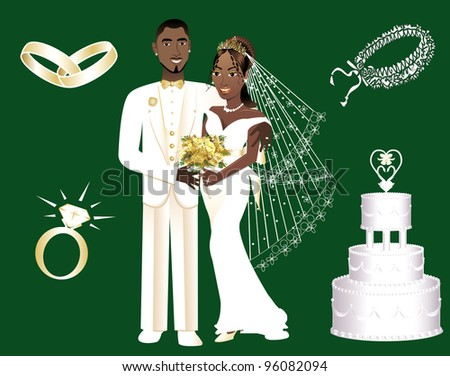 Raster version Illustration of a wedding couple and icons. - stock photo