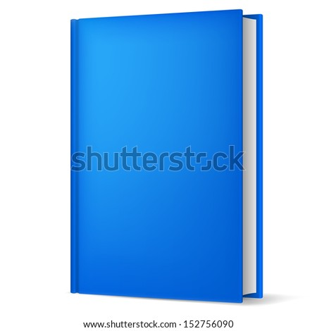 Raster version. Illustration of classic blue book in front vertical view isolated on white background. - stock photo