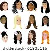 Raster version Illustration of 12 different women faces. - stock photo