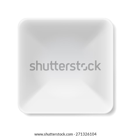 Raster version. Illustration of empty square white soup-plate isolated on white background  - stock photo