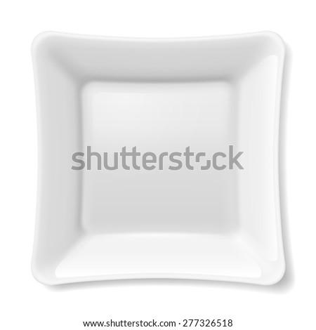 Raster version. Illustration of empty white flat plate isolated on white background - stock photo