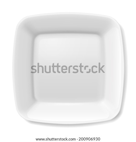 Raster version. Illustration of empty white plate with rounded borders isolated on white background - stock photo