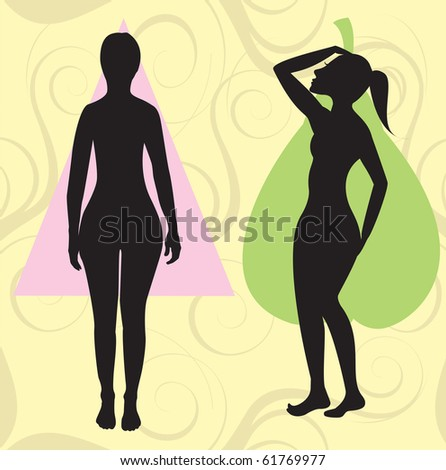 Raster version Illustration of female body shape pear also known as bell, triangle and spoon. Shape with with larger curves at hip area. - stock photo