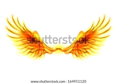 Raster version. Illustration of fire wings on white background.  - stock photo