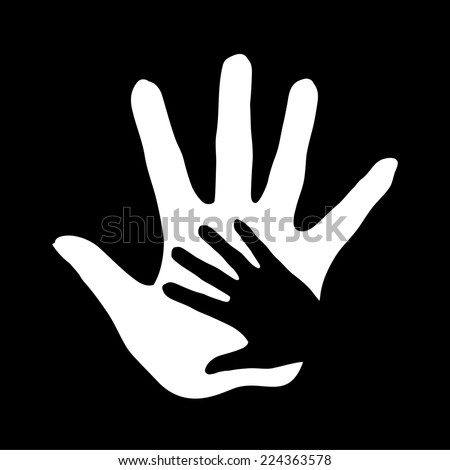 Raster version. Illustration of hand in hand in black-and-white as concept of help, assistance and cooperation.