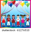 Raster version Illustration of 10 Heart balloons with a colorful background and kids holding hands with Love colors and Hearts. - stock vector