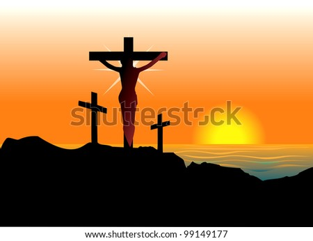 Raster version Illustration of Jesus Christ on cross. Easter Resurrection.