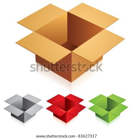 Raster version.  illustration of opened box on white background - stock photo