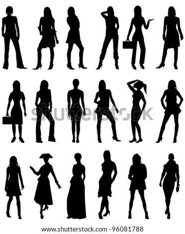Raster version Illustration of People Silhouettes 2. Business, Casual and Formal. - stock photo