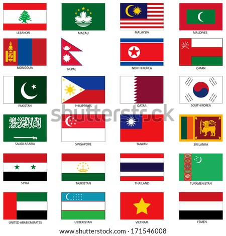 Raster Version Illustration of the Flags of different countries of the world. They are organized by location then in alphabetical in order. Dozens of flags in each file and hundreds all together. - stock photo