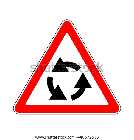 Raster version. Illustration of Triangle Traffic Sign for Roundabout