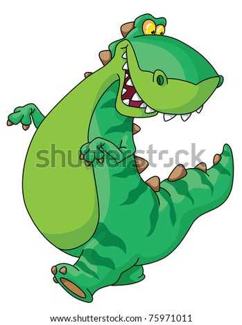 raster version illustration of walking dinosaur - stock photo