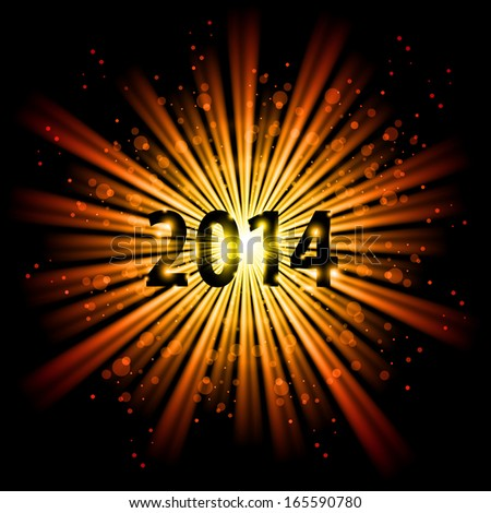Raster version. 2014 in yellow light of bursting star with sparks. New Year card.