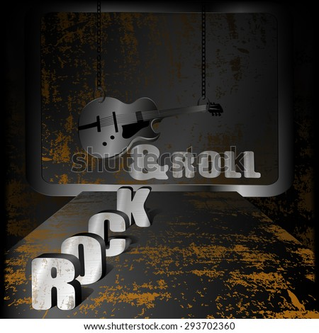 Raster version Iron background rock-n-roll with rust and an electric guitar with chains - stock photo
