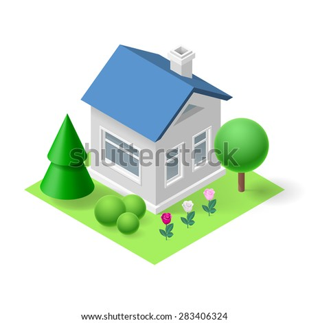 Raster version. Isometric 3d small home  with flowers and trees - stock photo
