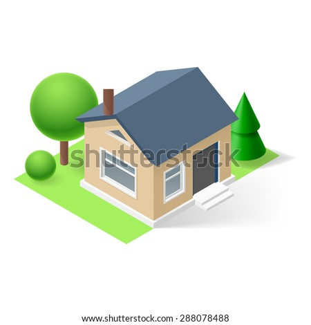 Raster version. Isometric small home with flowers and trees  - stock photo