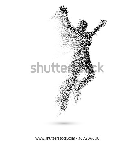 Raster version. Jumping Woman From in Black Dots on White