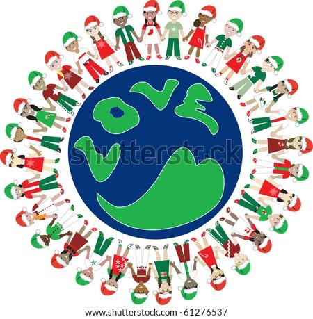Raster version. Kids Love Christmas World. 32 Different Children representing different countries around the world. - stock photo