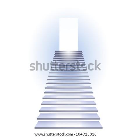 Raster version. Ladder to success. Illustration on white background. - stock photo