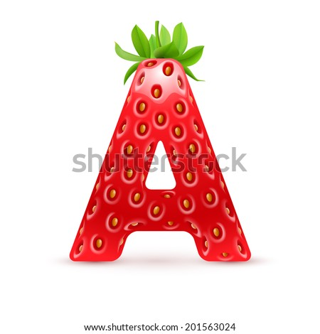 Raster version. Letter A in strawberry style with green leaves - stock photo