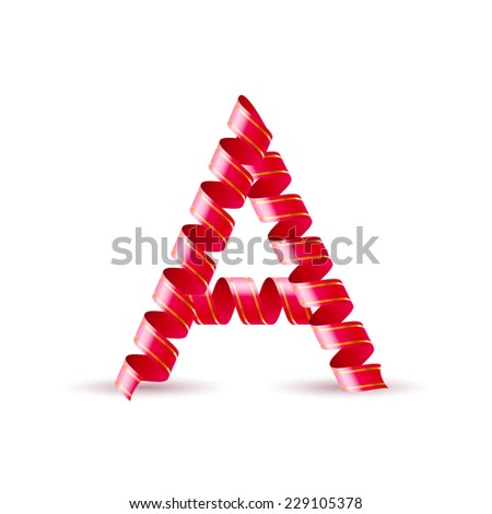 Raster version. Letter A made of red curled shiny ribbon  - stock photo