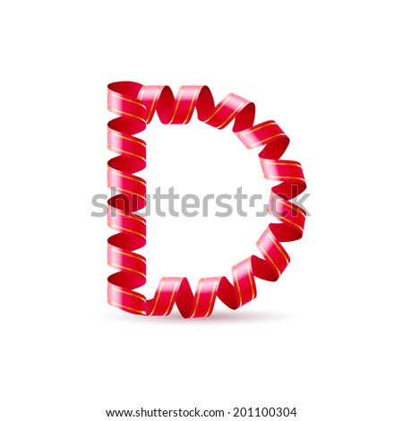 Raster version. Letter D made of red curled shiny ribbon - stock photo