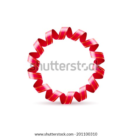 Raster version. Letter O made of red curled shiny ribbon - stock photo