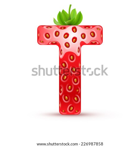 Raster version. Letter T in strawberry style with green leaves  - stock photo