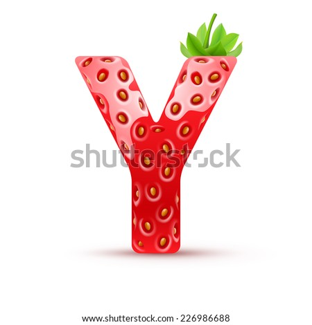 Raster version. Letter Y in strawberry style with green leaves  - stock photo