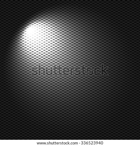 Raster version. Light flashlight on the black textured cell background - stock photo