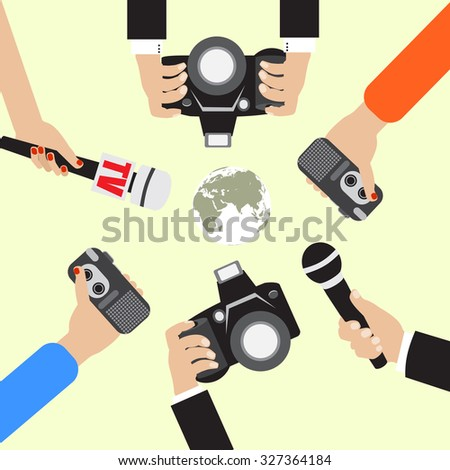 Raster version.  live report concept, live news, hands of journalists with microphones and tape recorders - stock photo