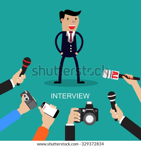 Raster version. Media conducting a press interview with a businessman answering questions to a row of hands holding microphones illustration - stock photo