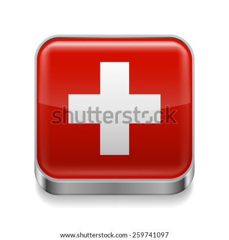 Raster version. Metal square icon with Swiss flag colors