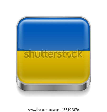 Raster version. Metal square icon with Ukrainian flag colors