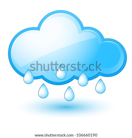Raster version. Mostly rain. Illustration on white background for design - stock photo