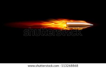 Raster version. Moving Red Fiery Gun Bullet Shot. Illustration on black - stock photo