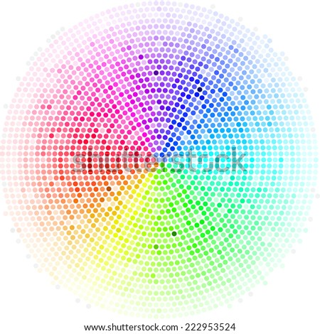 Raster version. Multicolor dots digital in form circle  on the white background