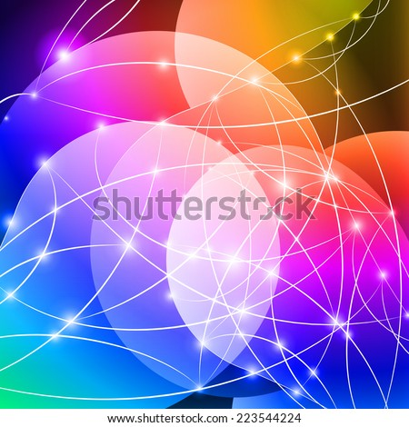 Raster version. Multicolored Internet background with shiny network dots concept  - stock photo