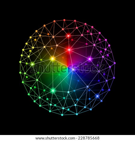 Raster version. Multicolour web envelopes sphere on black background  - stock photo