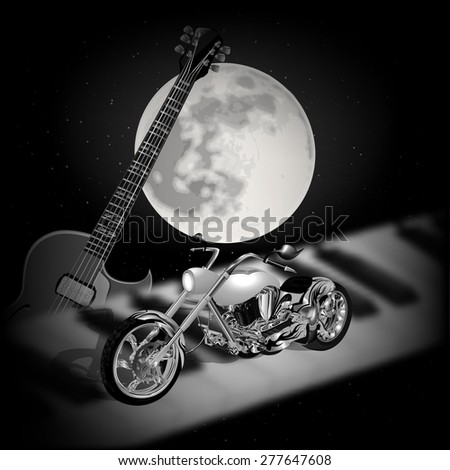 raster version musical background with the moon, guitar and motorcycle on a piano - stock photo